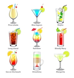 Cocktails icons set vector