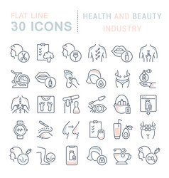 Collection linear icons health and beauty vector