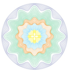 Colored Circular Guilloche pattern rosette vector