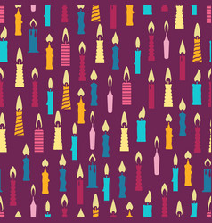 colorful birthday candles seamless pattern vector image