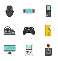 Computer games icons set flat style vector