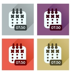 Concept of flat icons with long shadow diary vector image