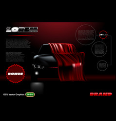 Covered car template on black background mock up vector