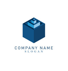 cube logotype vector image vector image