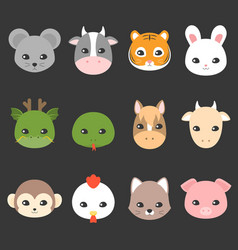 Cute cartoon chinese zodiac icon vector