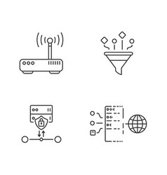 cybersecurity linear icons set vector image
