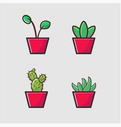 Decorative plants flat image design free vector