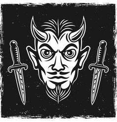 Devil head and two ritual knives on dark backdrop vector