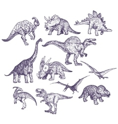 Dinosaurs drawings set vector