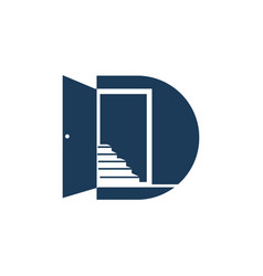 Door letter initial d logo design simple vector