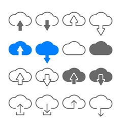 download upload cloud icons set vector image