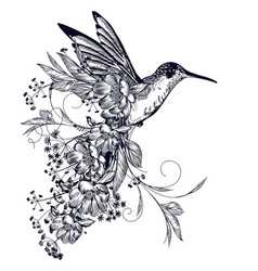 Elegant hummingbird with flowers and flourishes vector