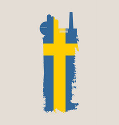 Factory icon and grunge brush sweden flag vector