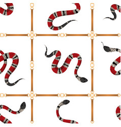 fashionable seamless pattern with belts and snakes vector image