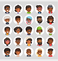 Flat african american round avatars on white vector