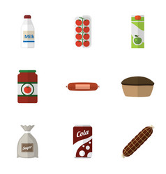 Flat eating set of tart fizzy drink bottle and vector