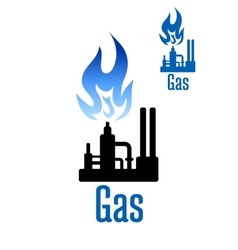 Gas processing factory icon with blue flame vector image