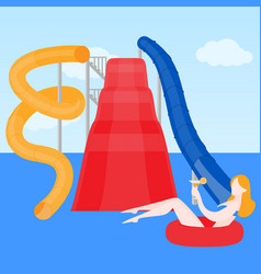 girl on lifebuoy in aqua park vector image