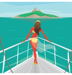 Girl standing on a yacht and admire the island vector image