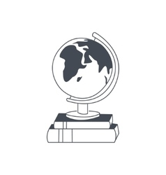 Globe Standing On The Pile Of Books vector