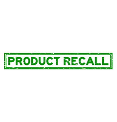 grunge green product recall word square rubber vector image