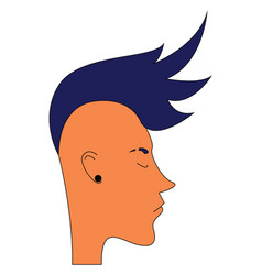 Guy with blue mohawk hairstyle vector