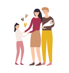 happy loving family mother father daughter vector image