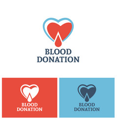 heart and drop blood logo concept donor foundation vector image