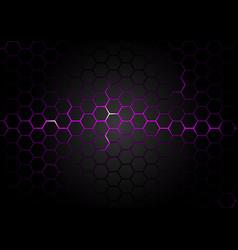hexagonal pattern on purple magma background vector image