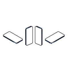 isometric phone mockup blue smartphone set vector image