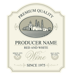 label for wine with european rural landscape vector image