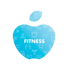 Line icons in apple shape fitness vector