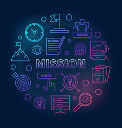 mission circular outline colored vector image