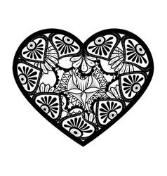 Monochrome mandala with heart shape vector