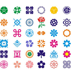 Most beautul flower set icon images vector