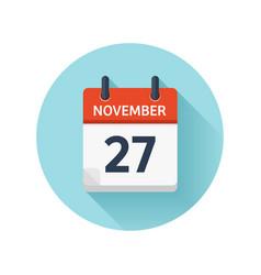 november 27 flat daily calendar icon date vector image