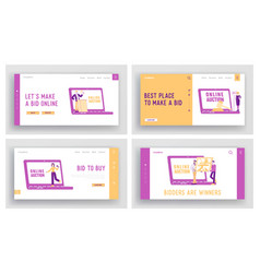 Online auction landing page template set people vector