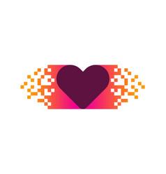 pixel love logo icon design vector image