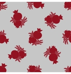Pomegranate seamless pattern fruits and leaves vector image
