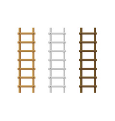 realistic detailed 3d wooden stairs ladders vector image