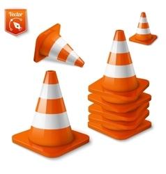realistic - set orange road cones vector image