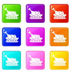 Roasted turkey set 9 vector