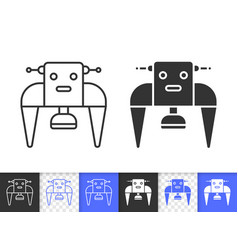 robot simple black line icon vector image