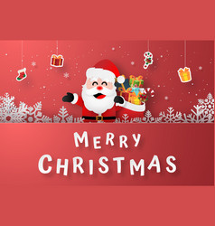 Santa claus with hanging gifts on postcard vector