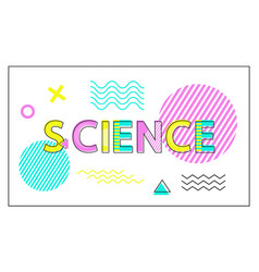 science poster geometric figures in linear style vector image