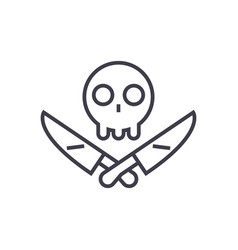 Scull with knifes line icon sign vector
