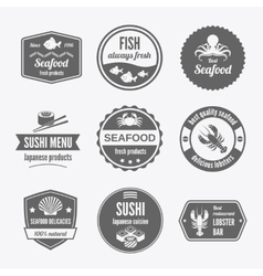 Seafood label set black vector image