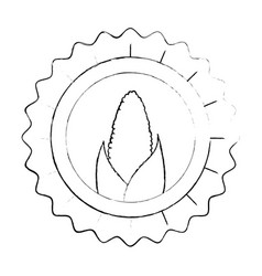 Seal stamp with corn icon vector