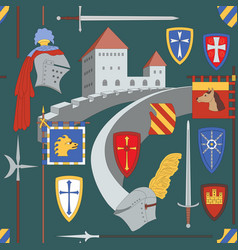 Seamless medieval pattern with castle knight vector