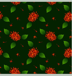 seamless repeat pattern with red tropical flowers vector image